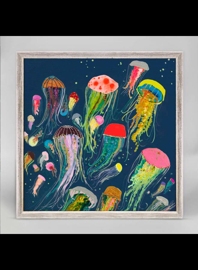 Navy Floating Jellyfish 6x6 Canvas Wall Art indigo