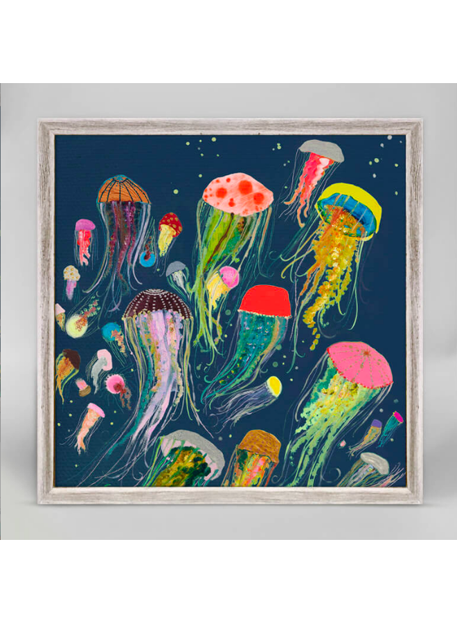 Navy Floating Jellyfish 6x6 Canvas Wall Art