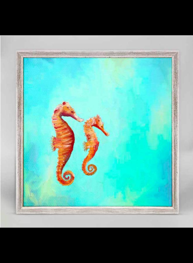 Swimming Seahorses 6x6 Canvas Wall Art
