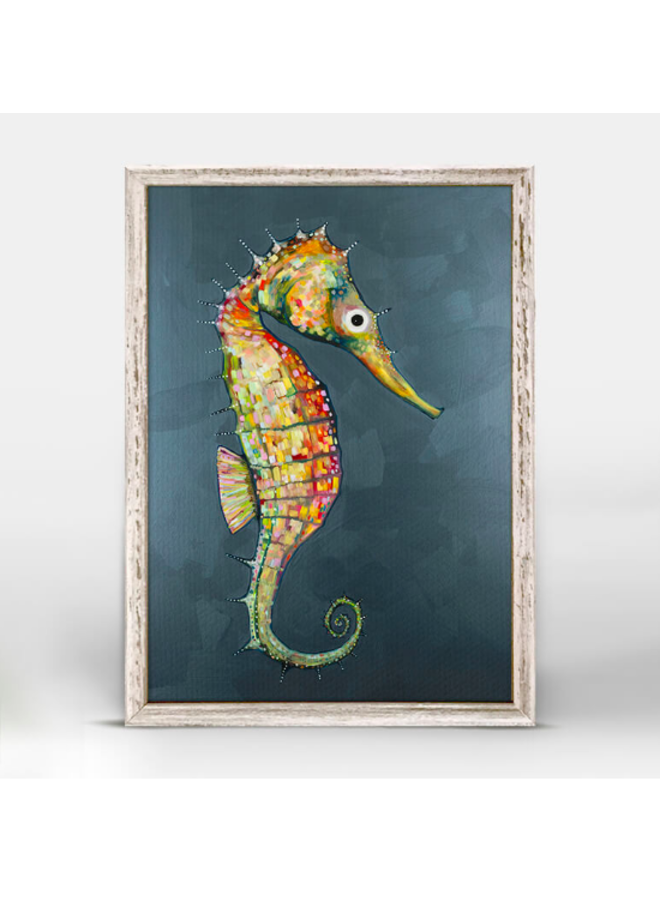 Floating Seahorse on Blue 5x7 Canvas Wall Art