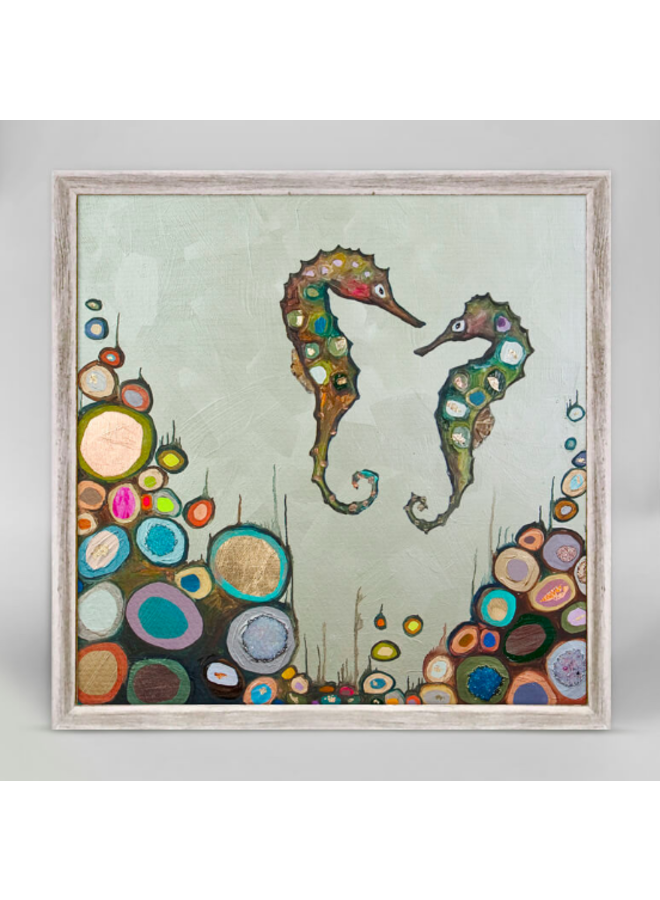 2 Floating Sea Horses Soul Mateys 6x6 Canvas Wall Art
