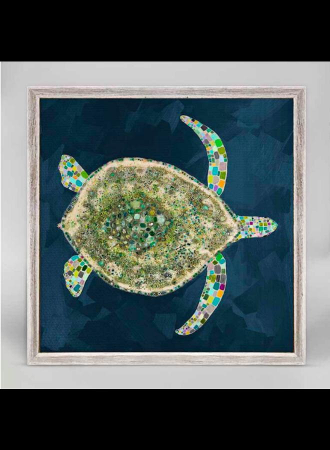 Jeweled Sea Turtle 5x7 Rustic Mini Wall Art