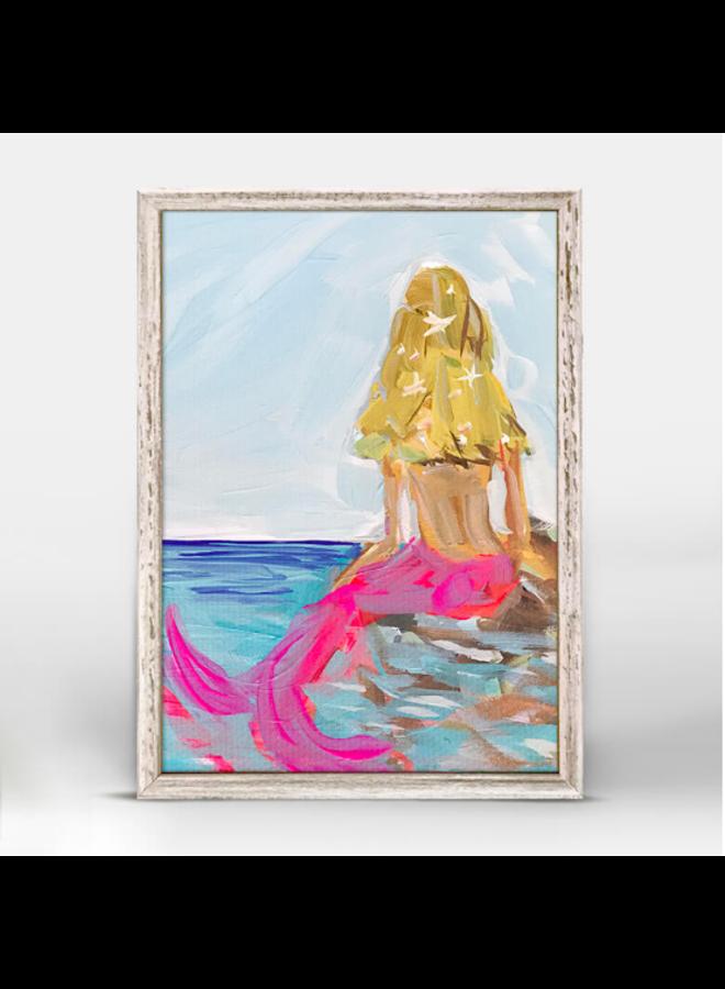 Blonde Mermaid in the Sea 5x7 Rustic Mini Wall Art