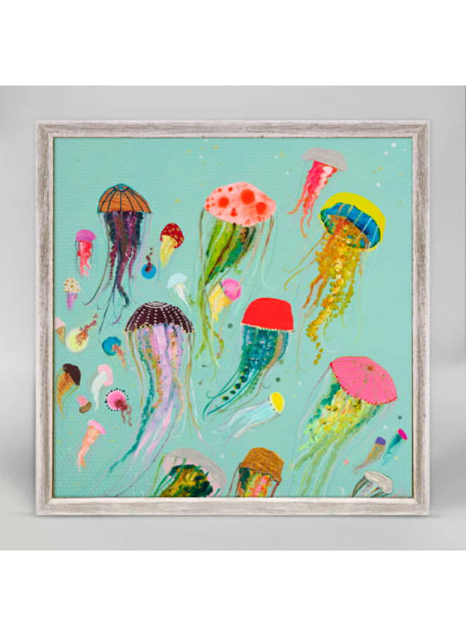 Aqua Floating Jellyfish 6x6 Canvas Wall Art