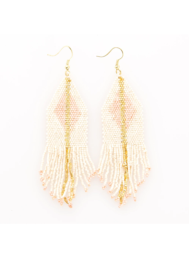 Ivory & Blush With Gold Diamond Fringe Earrings