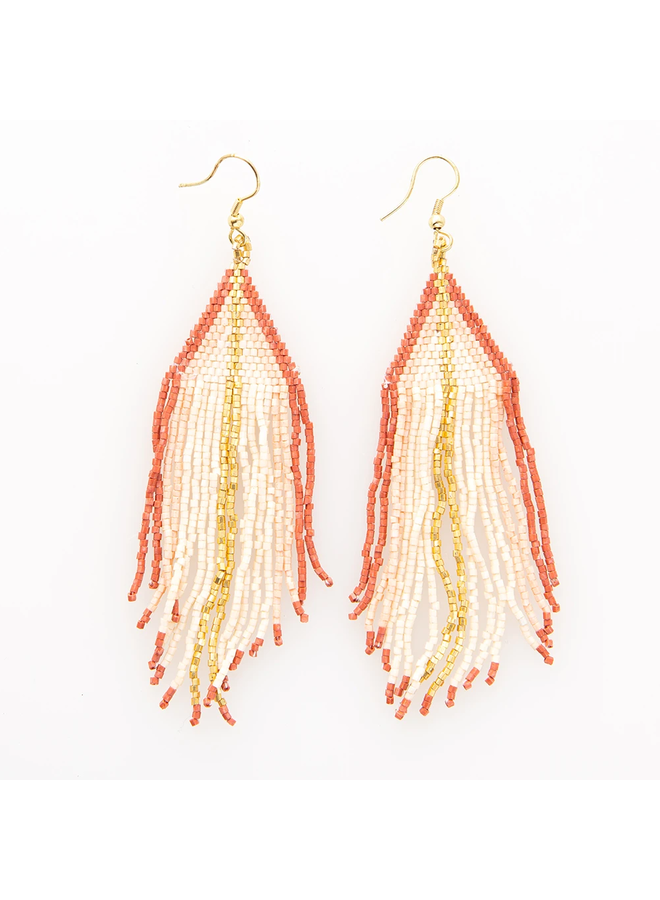 Ivory, Blush, Gold Ombre Stripe Fringe Earrings
