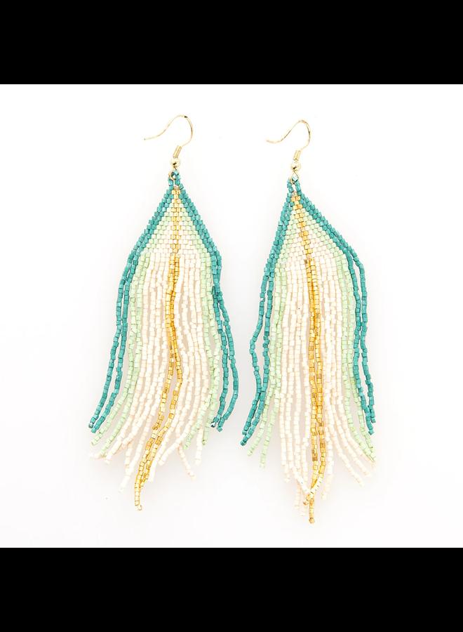 Ivory, Mint, Gold Ombre Stripe Fringe Earrings
