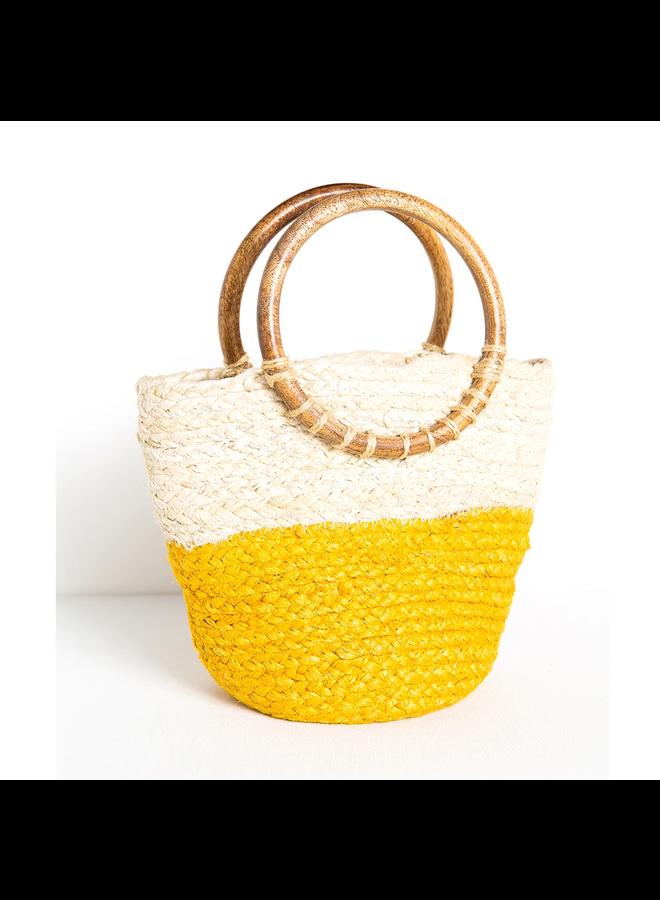 Color Block Straw Mini Tote Bag - Yellow