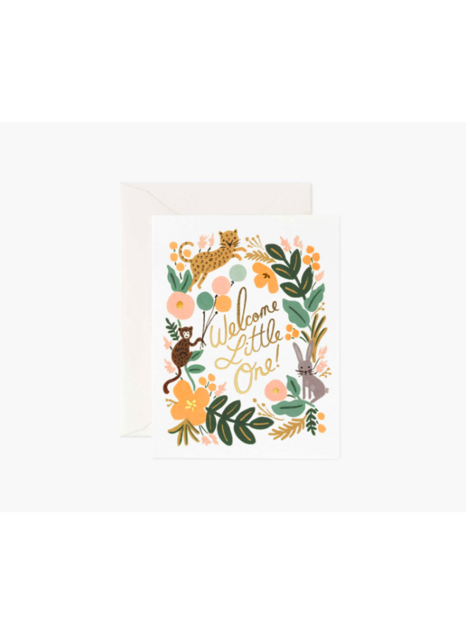 Rifle Paper Co Card - Welcome Little One - Menagerie  Animals