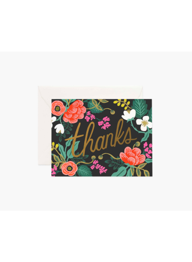 Rifle Paper Co Card - Gold Floral Thanks