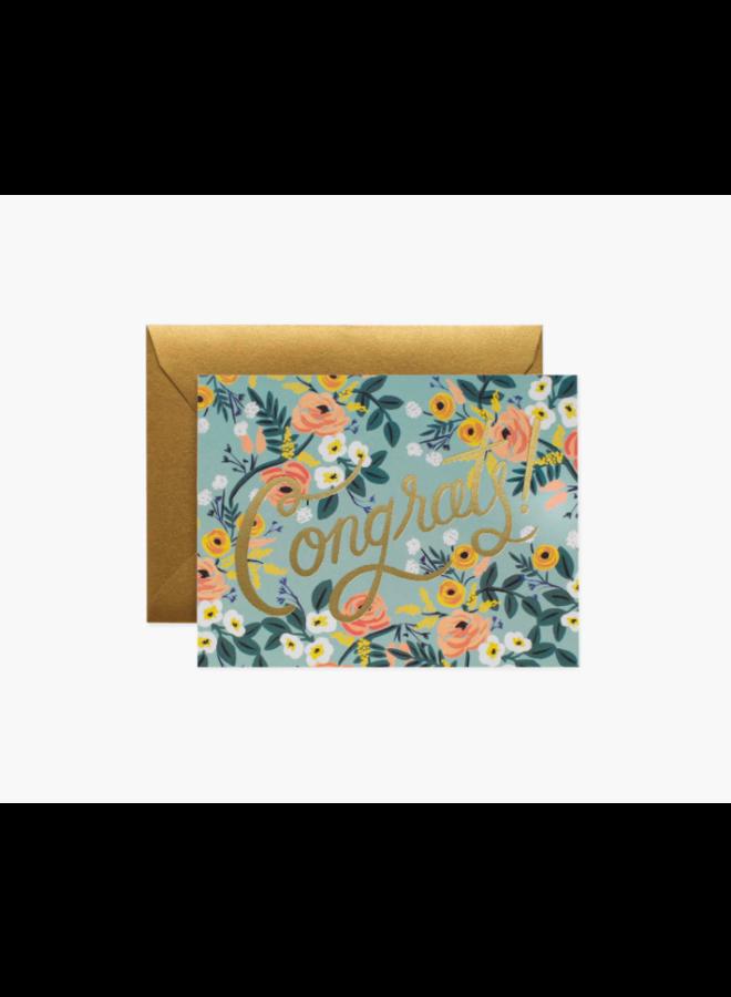 Rifle Paper Co Card - Light Blue Floral Congrats