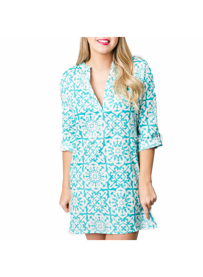 Tidal Wave Coral Reef Tunic - Turquoise