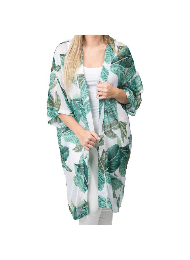 Hallie Green Palm Kimono
