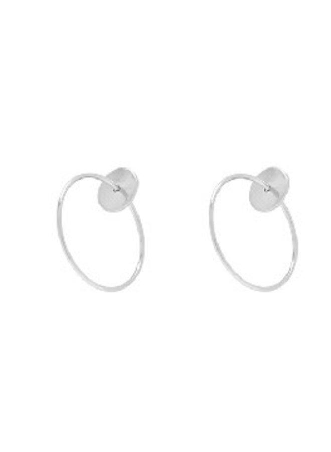Disk Post w/ Ring Earrings - White Gold Dipped (Secret Box)