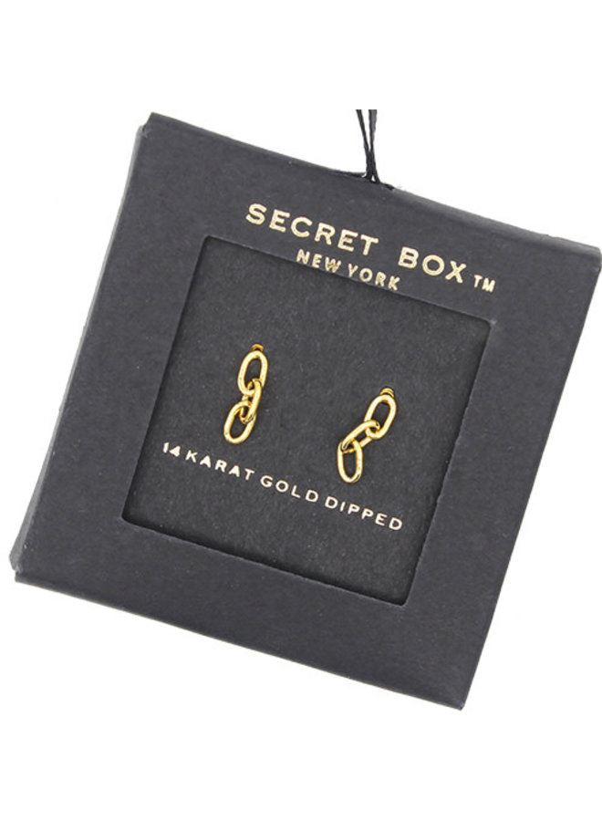 Chain Link w/ Three Links Earrings- 14K Gold Dipped (Secret Box)
