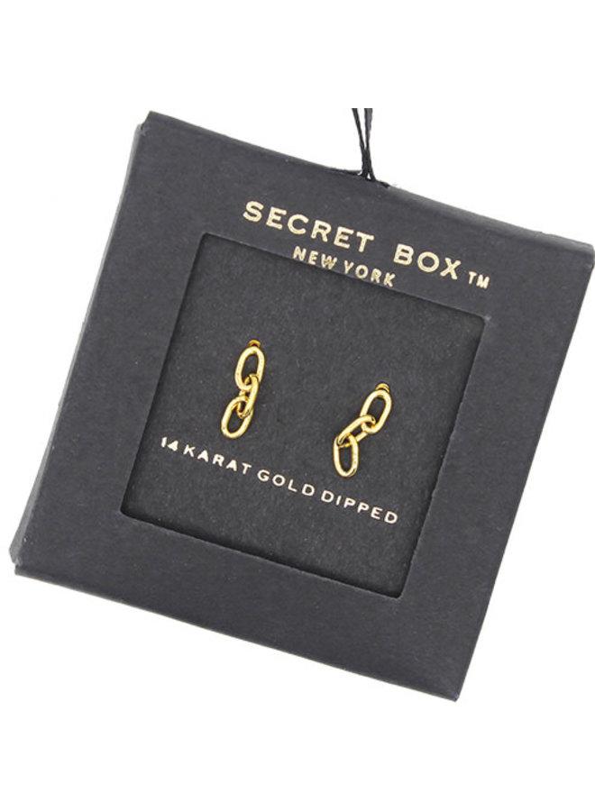 Chain Link w/ Three Links Earrings- 14K Gold Dipped (Secret Box)