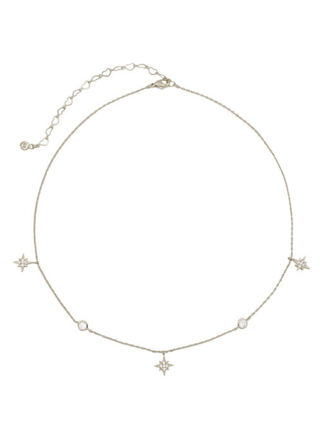 North Star & CZ Dangle Choker Necklace - 24K White Gold Dipped (Secret Box)