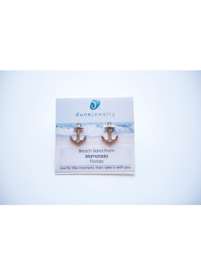 Dune Sterling Silver Anchor Stud Earrings - Islamorada by Dune