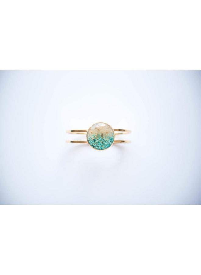 Marina Gold Plated Cuff - Islamorada Sand & Turquoise by Dune