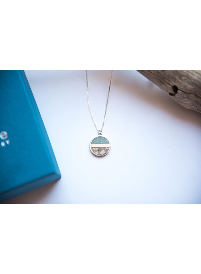Horizon Sterling Silver Stationary Necklace - Islamorada Sand & Amazonite by Dune
