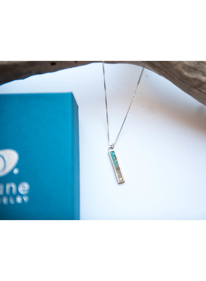 "Petite Bar 18"" Sterling Silver Necklace - Islamorada Sand Turquoise by Dune"
