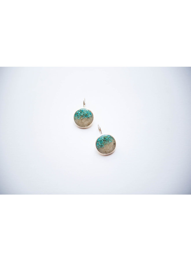 Marina Leverback Earrings - Islamorada Sand with Turqouise by Dune