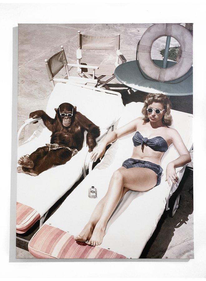 Monkey's Day at the Beach Photo Canvas Artwork - 30x 40