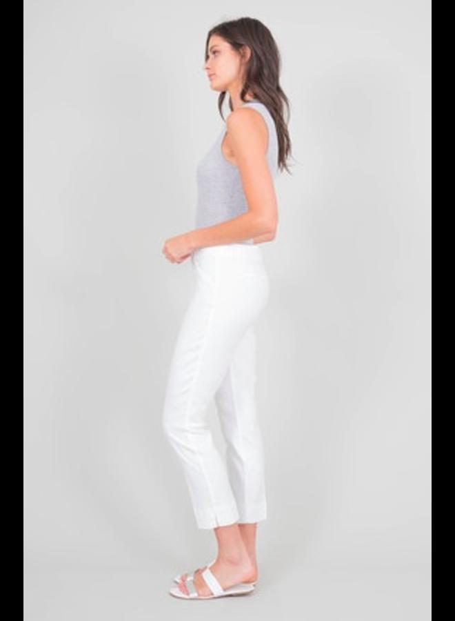 Slim Linen Blend White Trouser by Level 99