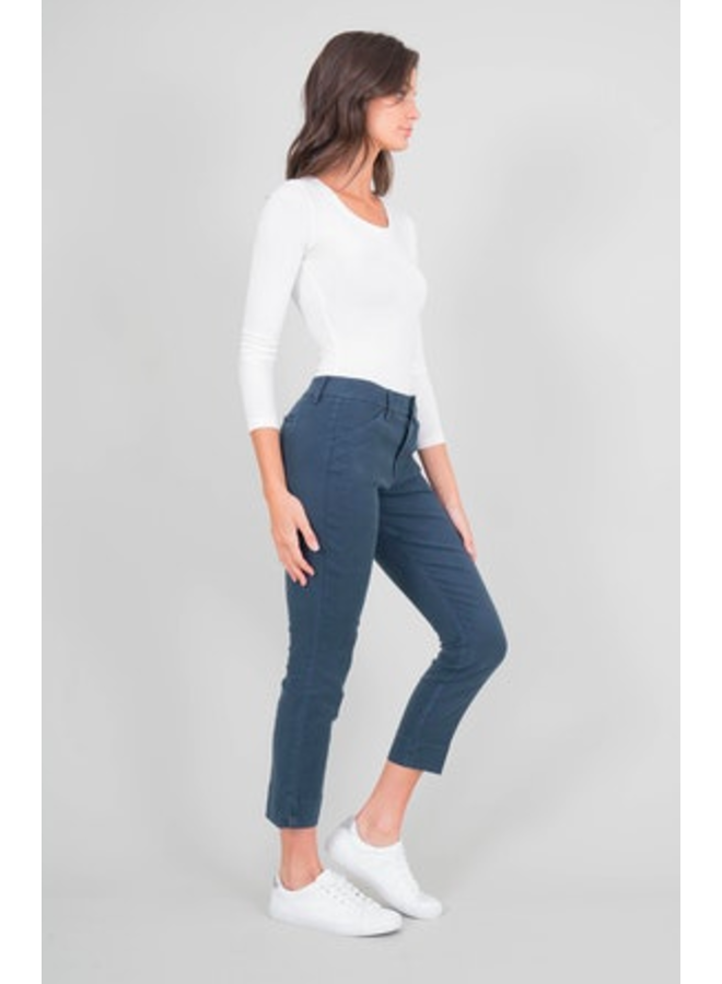 Slim Linen Blend Navy Trouser by Level 99