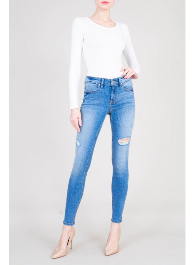 Blue Distressed Janice Mid Rise Skinny Jeans by Level 99