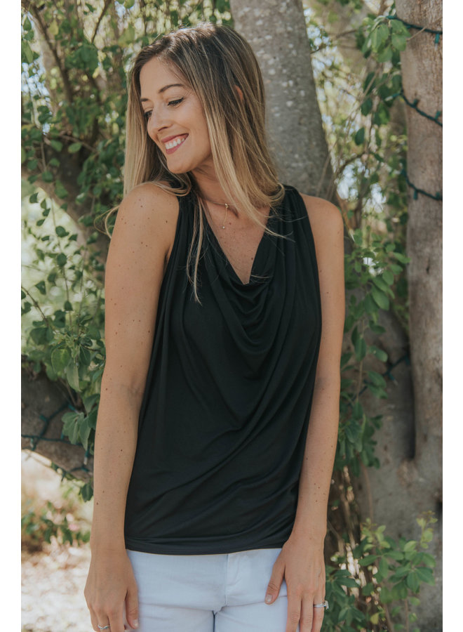 Cowl Neck Tank- Black - By Bobi