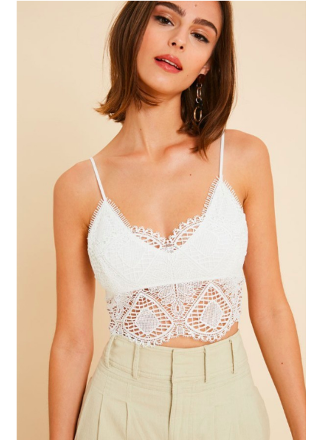 Lace Front Bralette / Crop Top - White
