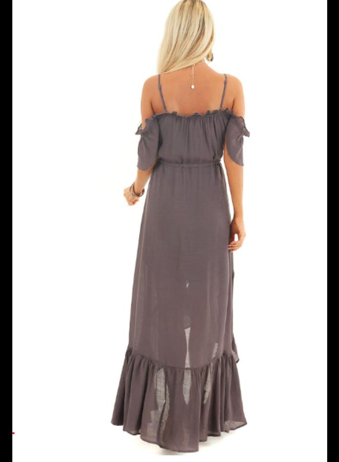 Purple Grey Ruffle Shoulder Button Down Maxi Dress