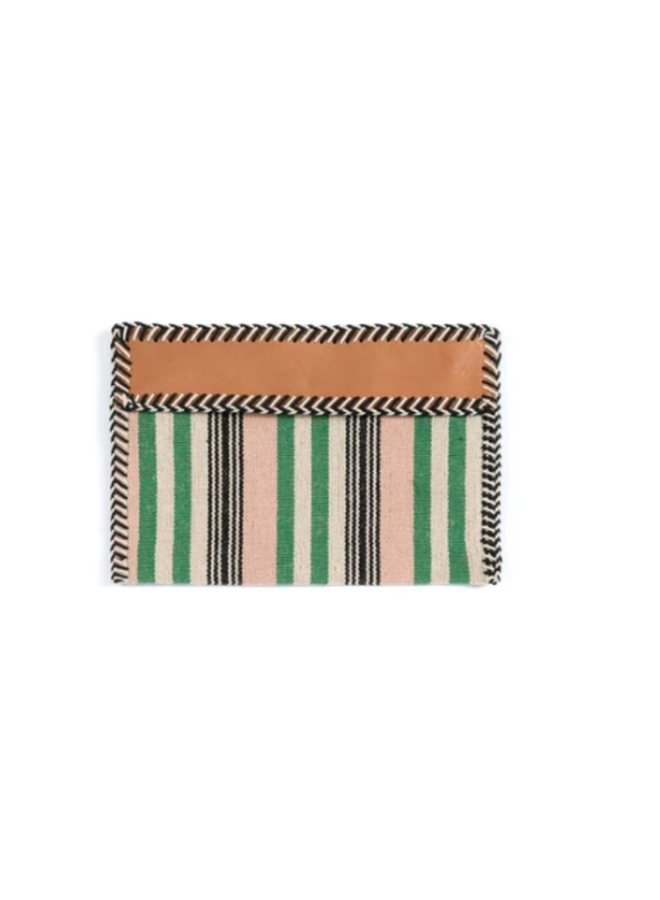 Mexican Blanket Woven Fabric Stripe Clutch - Green