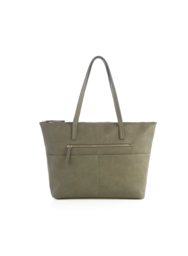 Zipper Top Faux Leather Verena Tote - Olive