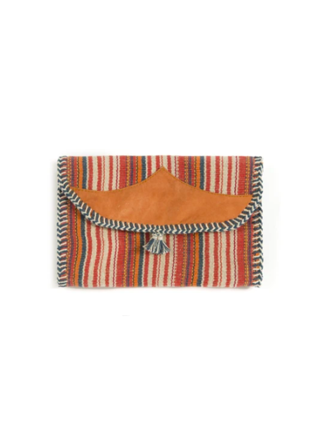 Mexican Blanket Woven Fabric Stripe Fold Over Clutch - Red