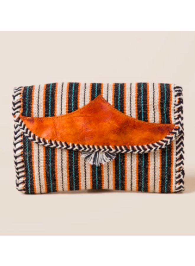 Mexican Blanket Woven Fabric Stripe Fold Over Clutch - Black