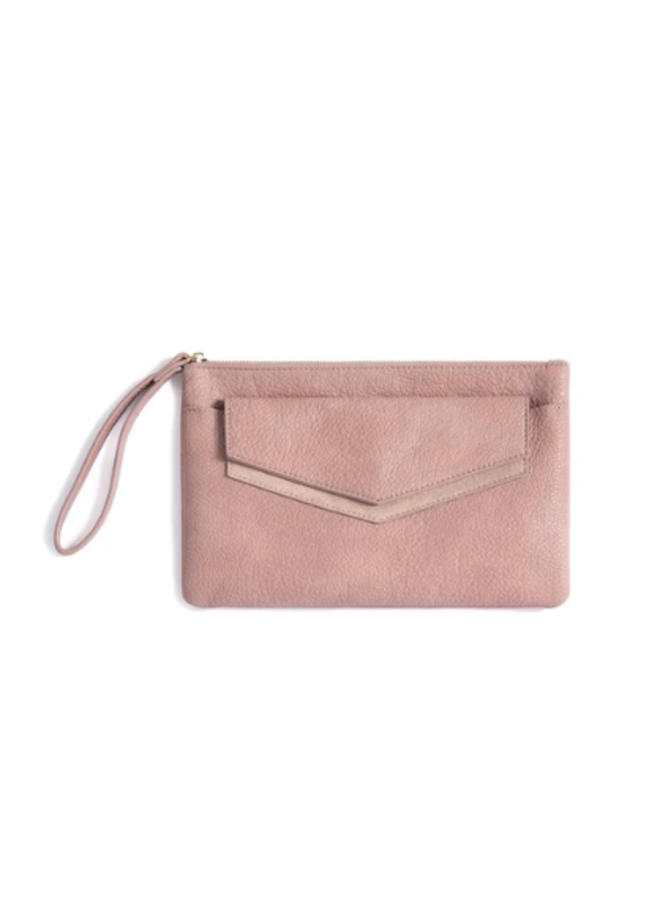 Zipper Clutch w/ Removable Envelope - Blush