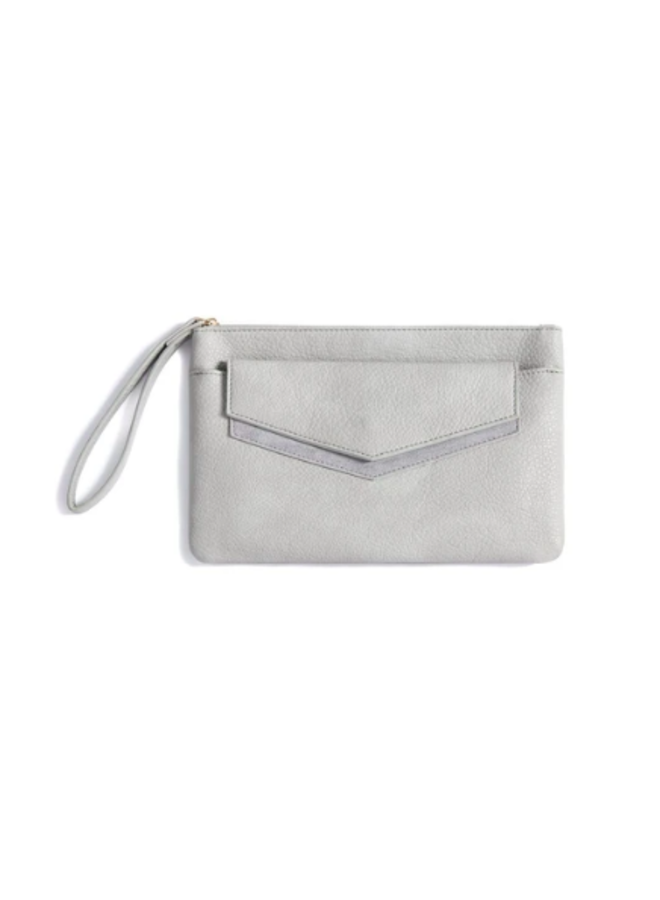 Zipper Clutch w/ Removable Envelope - Grey