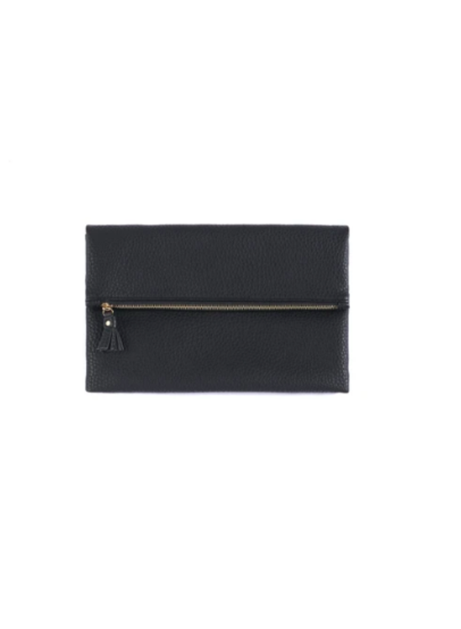 Fold Down Faux Leather Verena Clutch - Black