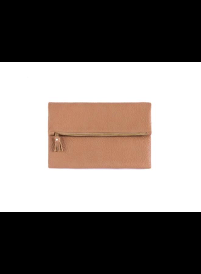 Fold Down Faux Leather Verena Clutch - Tan