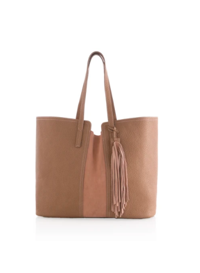 Porter Tote w/ Suede Stripe and Large Tassel - Tan
