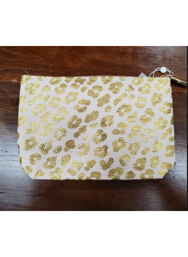 Metallic Cheetah Zip Pouch  -  - 3 colors available