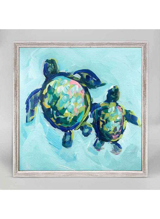 Two Turtles Swimming 6x6 Mini Wall Art
