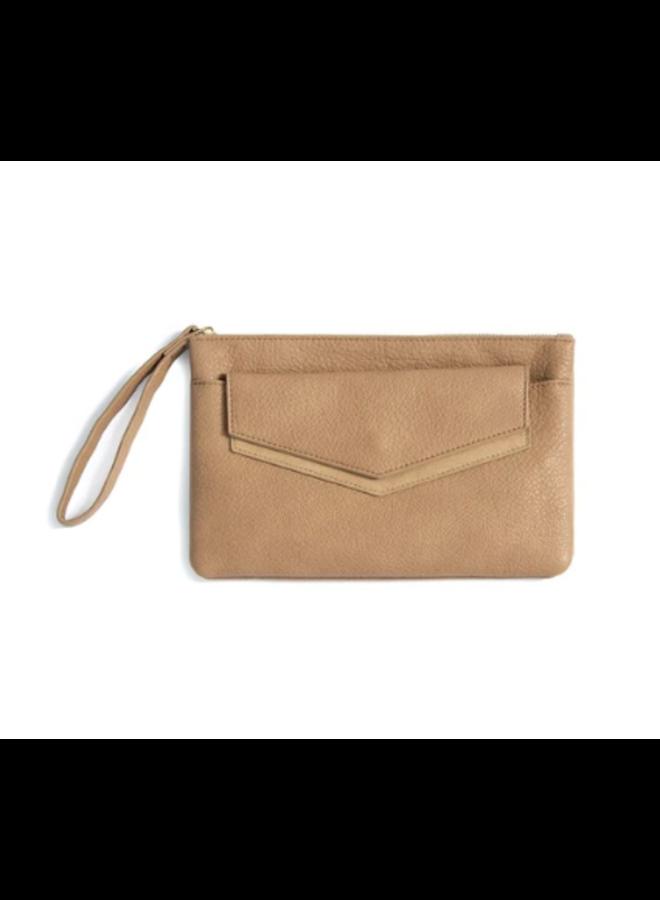 Zipper Clutch w/ Removable Envelope - Tan