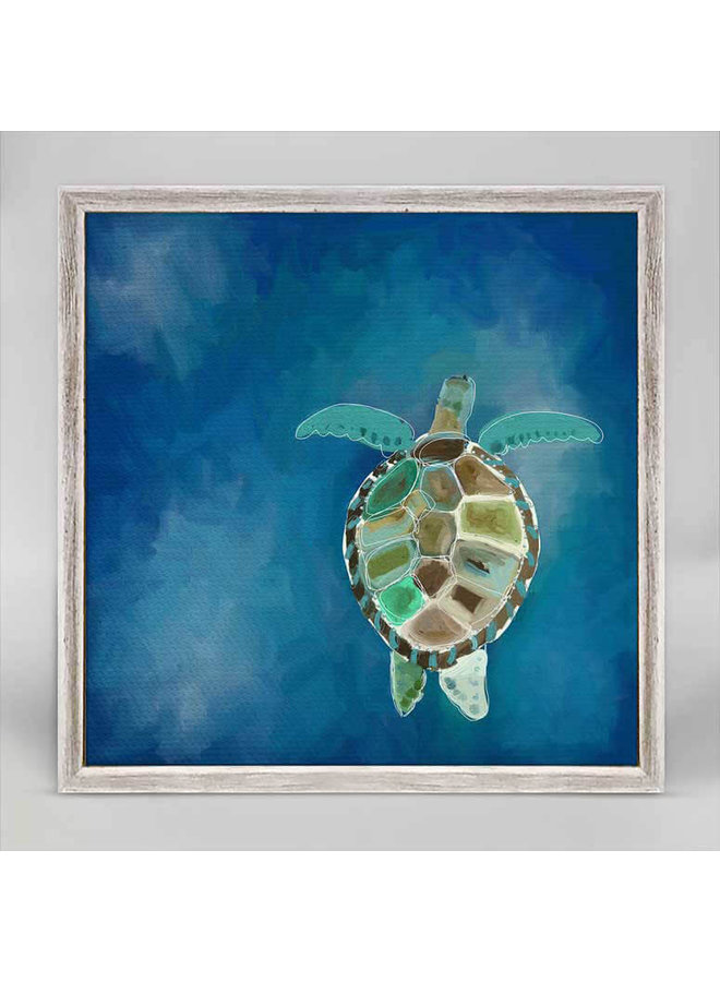 Swimming Sea Turtle 6x6 Canvas Wall Art