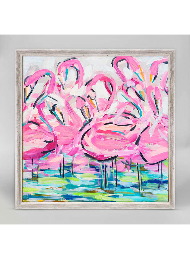 Flamingos In A Flock 6x6 Canvas Wall Art