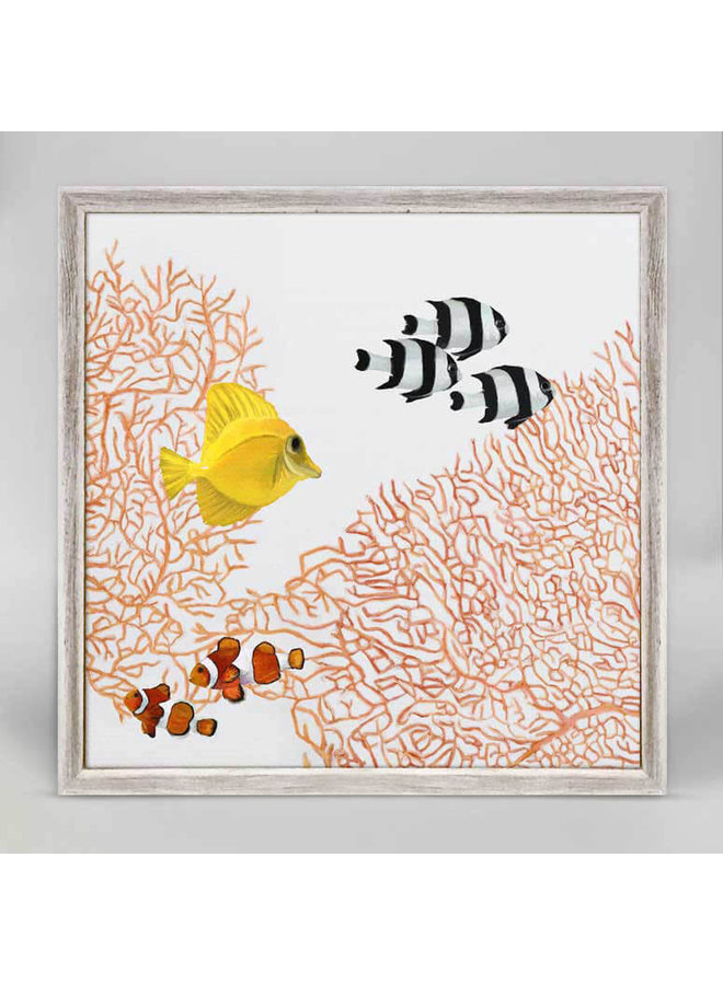 Coral 2 Light  Multi Fish Mini Framed 5x7 Canvas