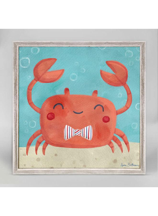 Happy Crab w/ Bowtie 6x6 Canvas Wall Art