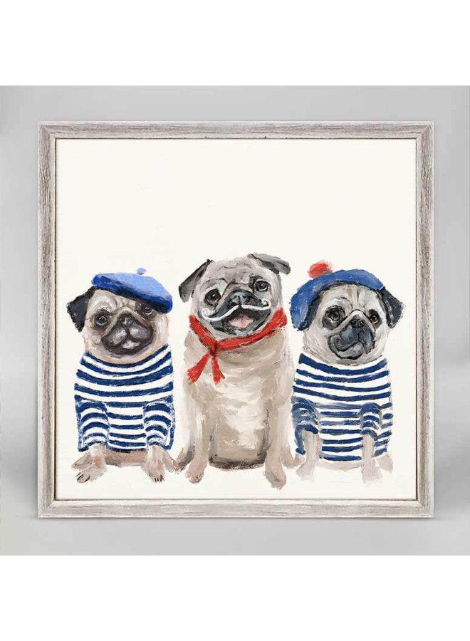 Best Friend- 3 French Pugs 6x6 Mini Wall Art